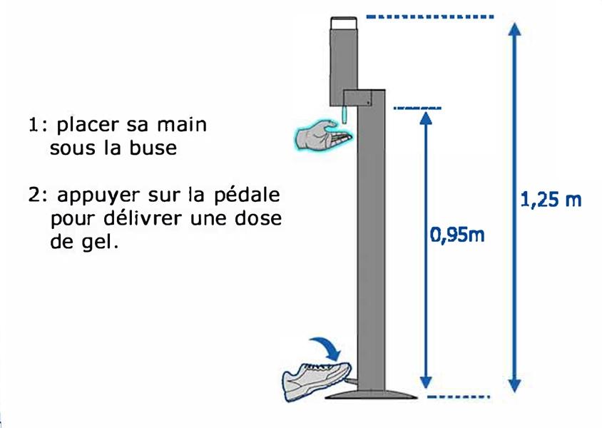 distributeur gel HA sur pied a pedale FII V2 papechal - Shop désinfectants et masques